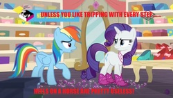 Size: 2560x1440 | Tagged: safe, edit, edited screencap, screencap, rainbow dash, rarity, pegasus, pony, unicorn, the end in friend, boomerang (tv channel), boots, duo, female, glitter, glitter boots, high heels, mare, neckerchief, shoes