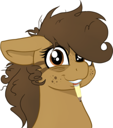 Size: 1739x1964   Tagged: safe, artist:binkyt11, artist:paskanaakka, derpibooru exclusive, oc, oc only, oc:binky, earth pony, hybrid, pony, zony, atg 2018, bags under eyes, colored, eyebrows, female, freckles, looking at you, mare, messy mane, mouth hold, newbie artist training grounds, pencil, simple background, solo, tired, transparent background