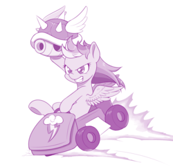 Size: 1000x969   Tagged: safe, artist:dstears, rainbow dash, pegasus, pony, blue shell, crossover, female, go kart, grin, mare, mario kart, monochrome, newbie artist training grounds, purple, simple background, smiling, solo, this will end in explosions, white background