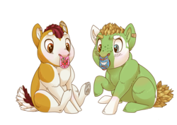 Size: 3508x2480   Tagged: safe, artist:jackiebloom, oc, oc only, oc:cameo cultivar, oc:maria ann smith, earth pony, pony, baby, baby pony, bandaid, coat markings, frog (hoof), heterochromia, nose tag, offspring, parent:apple bloom, parent:pipsqueak, parents:pipbloom, piebald colouring, simple background, socks (coat markings), transparent background, underhoof