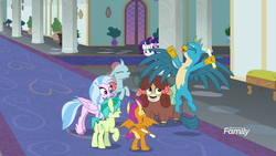 Size: 1920x1080 | Tagged: safe, screencap, gallus, ocellus, rarity, sandbar, silverstream, smolder, twilight sparkle, yona, alicorn, changedling, changeling, classical hippogriff, dragon, earth pony, griffon, hippogriff, pony, unicorn, yak, friendship university, bow, cloven hooves, discovery family logo, dragoness, female, hair bow, jewelry, male, mare, monkey swings, necklace, school of friendship, scroll, stallion, student six, teenager, twilight sparkle (alicorn)