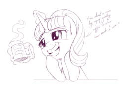 Size: 2090x1500 | Tagged: artist:brisineo, coffee, coffee mug, cursive writing, cute, empathy cocoa, equal cutie mark, glimmerbetes, leaning, magic, marks for effort, monochrome, mug, s5 starlight, safe, simple background, sketch, smiling, solo, spoiler:s08e12, starlight glimmer, steam, white background
