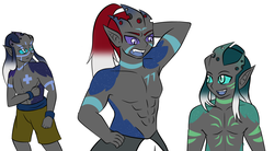 Size: 1600x884 | Tagged: armpits, artist:jolliapplegirl, changeling, face markings, horned humanization, human, humanized, kevin (changeling), pharynx, safe, skin markings, thorax