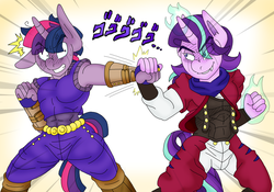 Size: 2799x1963 | Tagged: anime, anthro, artist:blackbewhite2k7, commission, crossover, dio brando, dusk shine, fight, is it friendship is manly?, japanese, jojo's bizarre adventure, jonathan joestar, magic, muscles, rule 63, safe, speed lines, starlight glimmer, stellar gleam, twilight sparkle