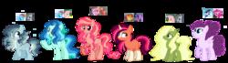 Size: 3700x1019   Tagged: safe, artist:vovanpetuh, oc, oc only, oc:aqua blue, oc:firewall sparkle, oc:lemon quartz, oc:mi dulce manzana, oc:minty fresh, oc:whirlwind, earth pony, pegasus, pony, unicorn, blaze (coat marking), female, hair over one eye, magical lesbian spawn, mare, offspring, parent:big macintosh, parent:fluttershy, parent:marble pie, parent:pinkie pie, parent:princess cadance, parent:rainbow dash, parent:soarin', parent:starlight glimmer, parent:sunburst, parents:cadmac, parents:flutterdash, parents:marbledash, parents:marbleshy, parents:soarinpie, parents:starburst, simple background, socks (coat marking), transparent background