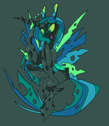 Size: 950x1100 | Tagged: artist:chocodile, changeling, changeling queen, female, green background, queen chrysalis, safe, simple background