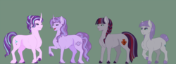 Size: 1600x584 | Tagged: artist:ganashiashaka, earth pony, female, green background, lesbian, magical lesbian spawn, mare, maud pie, oc, oc:ametyhst swirl, oc:chalcocite quartz, offspring, parent:maud pie, parents:starmaud, parent:starlight glimmer, pony, safe, shipping, simple background, starlight glimmer, starmaud