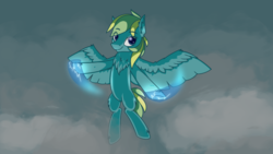 Size: 1024x576 | Tagged: artist:pollynia, chest fluff, dark cloud, female, floating, lightning, oc, oc only, pegasus, pony, safe, smiling, solo, thunderbolt