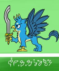 Size: 430x512 | Tagged: safe, artist:horsesplease, gallus, griffon, conlang, constructed language, heraldry, khopesh, male, paint tool sai, sarmelonid, solo, sword, vozonid, weapon