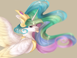 Size: 2068x1562 | Tagged: safe, artist:shalnor, artist:sheetanii, princess celestia, alicorn, pony, :p, bust, crown, cute, cutelestia, female, gray background, jewelry, mare, one eye closed, portrait, regalia, sillestia, silly, silly pony, simple background, smiling, solo, tan background, tongue out, two toned wings, wings, wink