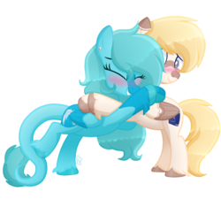 Size: 1560x1405 | Tagged: safe, artist:sugaryicecreammlp, oc, oc only, oc:armin, oc:mizu, pegasus, pony, blushing, female, hug, male, mare, simple background, stallion, transparent background