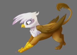Size: 1603x1147 | Tagged: safe, artist:pucksterv, gilda, griffon, behaving like a cat, catbird, cute, female, gildadorable, griffons doing cat things, laser pointer, simple background, solo