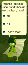 Size: 2273x5156 | Tagged: safe, artist:badumsquish, derpibooru exclusive, oc, oc:elkie.exe, computer virus pony, pony, black sclera, clippy, computer virus, dialogue, elk cloner, female, looking at you, microsoft, rehab, show accurate, sitting, solo, talking to viewer, windows, windows xp