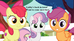 Size: 1152x648 | Tagged: adorabloom, apple bloom, bronybait, cropped, cute, cutealoo, cutie mark crusaders, diasweetes, edit, edited screencap, implied gabby, marks for effort, safe, scootaloo, screencap, smiling, spoiler:s08e12, sweetie belle, text, tree