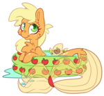 Size: 2558x2357 | Tagged: safe, artist:cutepencilcase, applejack, seapony (g4), cute, female, inflatable pool, jackabetes, seaponified, seapony applejack, simple background, solo, species swap, transparent background