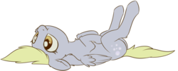 Size: 1224x495   Tagged: safe, artist:dusthiel, derpy hooves, pegasus, pony, atg 2018, chest fluff, cute, derpabetes, female, mare, newbie artist training grounds, on back, simple background, solo, transparent background, weapons-grade cute