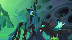 Size: 1280x720 | Tagged: changeling, changeling hive, changeling kingdom, changeling queen, confrontation, female, male, queen chrysalis, raised hoof, safe, screencap, thorax, to where and back again