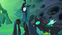 Size: 1280x720 | Tagged: changeling, changeling hive, changeling kingdom, changeling queen, female, head turn, male, queen chrysalis, safe, screencap, thorax, to where and back again