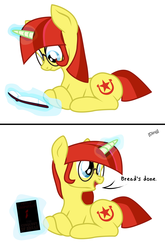 Size: 1400x2116 | Tagged: safe, artist:aaronmk, oc, oc:lefty pony, pony, unicorn, 2 panel comic, anarchism, atg 2018, book, bread, bread book, comic, female, food, freckles, glasses, glowing horn, horn, lying down, magic, mare, newbie artist training grounds, peter kropotkin, reading, simple background, solo, telekinesis, text, the conquest of bread, white background