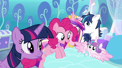 Size: 1280x720 | Tagged: safe, screencap, pinkie pie, princess cadance, princess flurry heart, shining armor, twilight sparkle, alicorn, earth pony, pony, unicorn, the crystalling, baby, baby alicorn, baby pony, bed, crystal castle, crystal empire, cute, female, flurrybetes, foal, happy, male, mare, nursery, spread wings, stallion, twilight sparkle (alicorn), wings