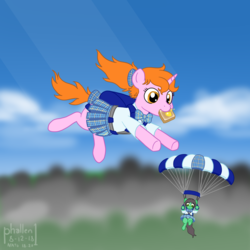 Size: 1500x1500 | Tagged: artist:phallen1, atg 2018, backpack, bow, bowtie, bread, clothes, earth pony, falling, female, food, hair bow, looking down, newbie artist training grounds, oc, oc:maya northwind, oc only, oc:sadie michaels, parachute, plaid, plaid skirt, pleated skirt, ponytail, safe, schoolgirl toast, school uniform, skirt, skirt lift, skydiving, solo focus, tail bow, tartan, toast, unicorn