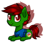 Size: 943x901 | Tagged: safe, artist:spokenmind93, oc, oc only, oc:pastel dice, earth pony, pony, chibi, digital art, lying down, male, shadow, signature, simple background, smiling, solo, stallion, transparent background