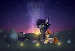 Size: 1920x1316 | Tagged: artist:monogy, colt, female, firefly (insect), male, mare, night, oc, oc:ethan, oc:kama, oc only, pegasus, pony, runes, safe, stars, stone