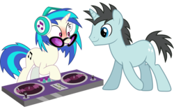 Size: 9722x6050 | Tagged: absurd res, artist:caliazian, artist:vectorizedunicorn, background pony, blushing, dj pon-3, edit, female, headphones, leap of faith, male, mare, neon lights, open mouth, pony, rising star, safe, shipping, simple background, slice of life (episode), stallion, straight, sunglasses, transparent background, turntable, unicorn, vector, vinylights, vinyl scratch