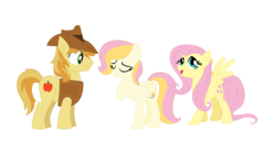 Size: 1216x666 | Tagged: artist:mlpmagicponies, braeburn, braeshy, family, female, fluttershy, male, offspring, parent:braeburn, parent:fluttershy, parents:braeshy, safe, shipping, straight