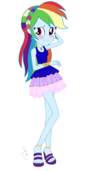 Size: 1140x2250 | Tagged: alternate hairstyle, artist:ilaria122, blushing, bracelet, braid, clothes, cute, dashabetes, dress, ear piercing, earring, embarrassed, equestria girls, feet, geode of super speed, high heels, jewelry, legs, magical geodes, necklace, open mouth, piercing, rainbow dash, rainbow dash always dresses in style, safe, sandals, shoes, simple background, sleeveless, solo, transparent background