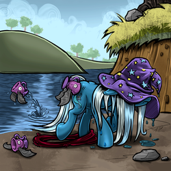Size: 2077x2077 | Tagged: safe, artist:harwick, color edit, edit, trixie, biteacuda, fish, pony, unicorn, atg 2018, clothes, colored, cup, female, floppy ears, hat, inner tube, mare, newbie artist training grounds, solo, teacup, trixie's hat, water, wet, wet mane, what has magic done