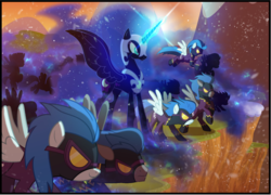 Size: 1118x803 | Tagged: safe, artist:light262, artist:lummh, edit, descent, nightmare moon, nightshade, alicorn, pegasus, pony, comic:timey wimey, clothes, costume, cropped, ethereal mane, female, glowing horn, goggles, magic, mare, shadowbolts, shadowbolts (nightmare moon's minions), shadowbolts costume, starry mane