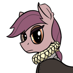 Size: 4000x4000 | Tagged: safe, artist:toastytop, chancellor puddinghead, fanfic:the famine wars, armor, bust, clothes, fanfic, female, portrait, ruff (clothing), simple background, solo, torn ear, transparent background