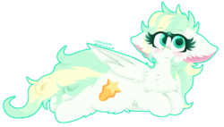 Size: 1024x581 | Tagged: safe, artist:vanillaswirl6, vapor trail, pegasus, pony, top bolt, :>, big ears, blushing, chest fluff, ear fluff, female, lying down, simple background, solo, transparent background