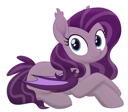 Size: 1504x1324 | Tagged: safe, artist:askometa, oc, oc only, bat pony, pony, bat pony oc, bat wings, cute, digital art, ear fluff, female, looking at you, mare, movie accurate, ocbetes, prone, simple background, smiling, white background, wide eyes, ych result