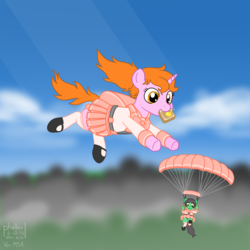 Size: 1500x1500 | Tagged: alternate version, artist:phallen1, atg 2018, backpack, bow, bowtie, bread, clothes, earth pony, falling, female, food, hair bow, looking down, newbie artist training grounds, oc, oc:maya northwind, oc only, oc:sadie michaels, parachute, pleated skirt, ponytail, safe, sailor fuku, schoolgirl toast, school uniform, shoes, skirt, skirt lift, skydiving, socks, solo focus, tail bow, toast, unicorn