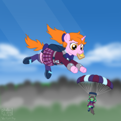 Size: 1500x1500 | Tagged: alternate version, artist:phallen1, atg 2018, backpack, bow, bowtie, bread, clothes, crystal prep academy uniform, crystal prep shadowbolts, earth pony, falling, female, food, hair bow, looking down, newbie artist training grounds, oc, oc:maya northwind, oc only, oc:sadie michaels, parachute, pleated skirt, ponytail, safe, schoolgirl toast, school uniform, shoes, skirt, skirt lift, skydiving, socks, solo focus, tail bow, toast, unicorn