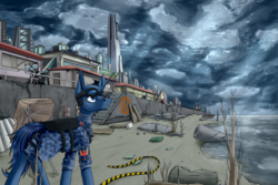 Size: 3000x2000 | Tagged: artist:vendigo, beach, building, citadel, clothes, cloud, cloudy, digital art, half-life, half-life 2, high res, looking up, male, military uniform, oc, oc only, pony, safe, sky, stallion, unicorn, uniform, ych result