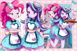 Size: 2250x1500 | Tagged: anime, artist:ryuu, coinky-dink world, cute, diapinkes, drink, duo, equestria girls, female, glimmerbetes, milkshake, pinkie pie, roller skates, safe, server pinkie pie, spoiler:eqg summertime shorts, starlight glimmer, straw