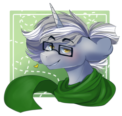 Size: 1513x1432 | Tagged: artist:marshmerry, bust, clothes, glasses, male, oc, oc only, oc:silver light, pony, portrait, safe, scarf, simple background, solo, stallion, transparent background, unicorn