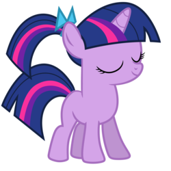 Size: 3358x3355 | Tagged: a canterlot wedding, accessory swap, alternate hairstyle, artist:estories, artist:mamandil, artist:valcron, bow, edit, editor:slayerbvc, eyes closed, female, filly, filly twilight sparkle, hair bow, pony, ponytail, safe, simple background, solo, transparent background, twilight sparkle, unicorn, vector, vector edit, younger