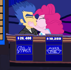 Size: 1900x1884 | Tagged: artist:bigpurplemuppet99, equestria girls, female, flash sentry, jeopardy, kissing, male, pinkie pie, pinkiesentry, safe, straight