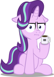 Size: 881x1250 | Tagged: artist:spellboundcanvas, coffee mug, empathy cocoa, equal sign, female, i mean i see, mare, marks for effort, mug, safe, simple background, solo, spoiler:s08e12, starlight glimmer, transparent background, wat