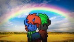 Size: 1280x720 | Tagged: safe, artist:tiorafajp2, oc, oc only, oc:bytewave, oc:cyberpon3, pony, pony town, cute, gay, male, nom, rainbow