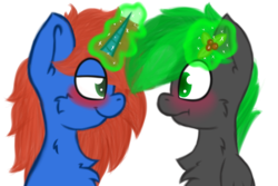 Size: 1500x1000 | Tagged: safe, artist:claudearts, oc, oc only, oc:bytewave, oc:cyberpon3, pegasus, pony, unicorn, blushing, chest fluff, gay, holly, holly mistaken for mistletoe, imminent kissing, implied kissing, male, simple background, smiling, smirk, transparent background