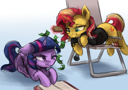Size: 3600x2550   Tagged: safe, artist:vanillaghosties, sunset shimmer, twilight sparkle, alicorn, pony, annoyed, atg 2018, book, chair, clothes, cutie mark, female, glowing horn, high res, jacket, magic, making it rain, mare, microphone, money, newbie artist training grounds, reading, telekinesis, twilight is not amused, twilight sparkle (alicorn), unamused, watch