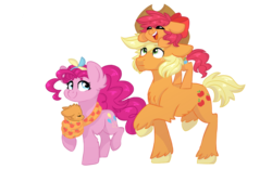 Size: 1280x800 | Tagged: applejack, applepie, artist:vovanpetuh, baby, baby pony, beanbrows, bow, clothing theft, colt, earth pony, eyebrows, family, female, filly, hair bow, lesbian, magical lesbian spawn, male, oc, oc:paper apple pie, offspring, parent:applejack, parent:pinkie pie, parents:applepie, pinkie pie, pony, pony hat, safe, shipping, simple background, transparent background, unshorn fetlocks