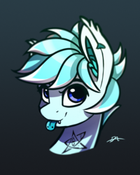 Size: 2800x3500 | Tagged: artist:syntaxartz, bat pony, bat pony oc, bust, elder sign, fangs, looking at you, oc, oc:radbat, piercing, portrait, safe, solo, tattoo, tongue out, tongue piercing