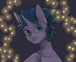 Size: 1478x1200   Tagged: safe, artist:kottonashi, oc, oc only, pony, unicorn, bust, commission, digital art, lights, looking at you, male, signature, smiling, stallion, ych result
