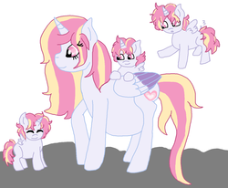 Size: 1380x1136 | Tagged: alicorn, alicorn oc, artist:cottoncloudyfilly, colt, family, foal, male, mother and children, mother and sons, multiple pregnancy, oc, oc:mistral violet, oc only, offspring, offspring's offspring, parent:oc:mistral violet, parent:oc:solar shine, parent:princess cadance, parent:shining armor, parents:oc x oc, parents:shiningcadance, pregnant, safe, triplets